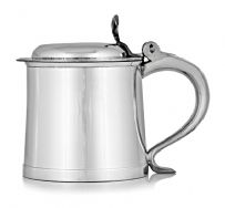 1 Pint Lidded William and Mary Pewter Tankard